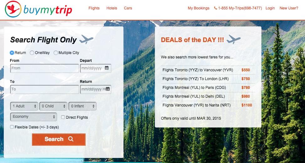 Screenshot of Buymytrip.com Website